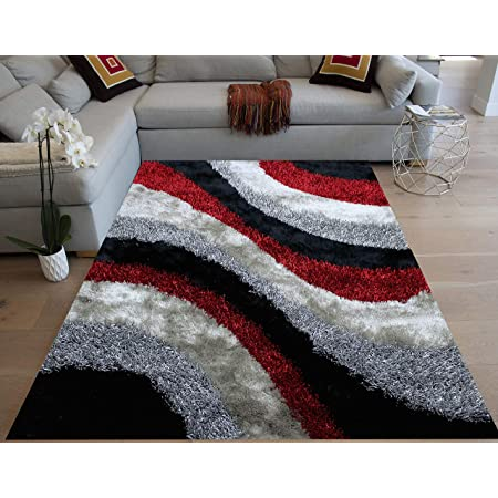 Red Black Silver Colors Two Tone 8 X10 Feet Shag Shaggy 3d Carved Area Rug Carpet Rug Indoor Bedroom Living Room Decorative Designer Modern Contemporary Plush Pile Polyester Made Canvas Backing Kitchen