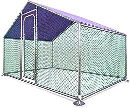 ALEKO CKR10X7PR Metal DIY Walk-in Chicken Coop or Chicken Run with Purple Waterproof Cover 6.5 x 10 Feet