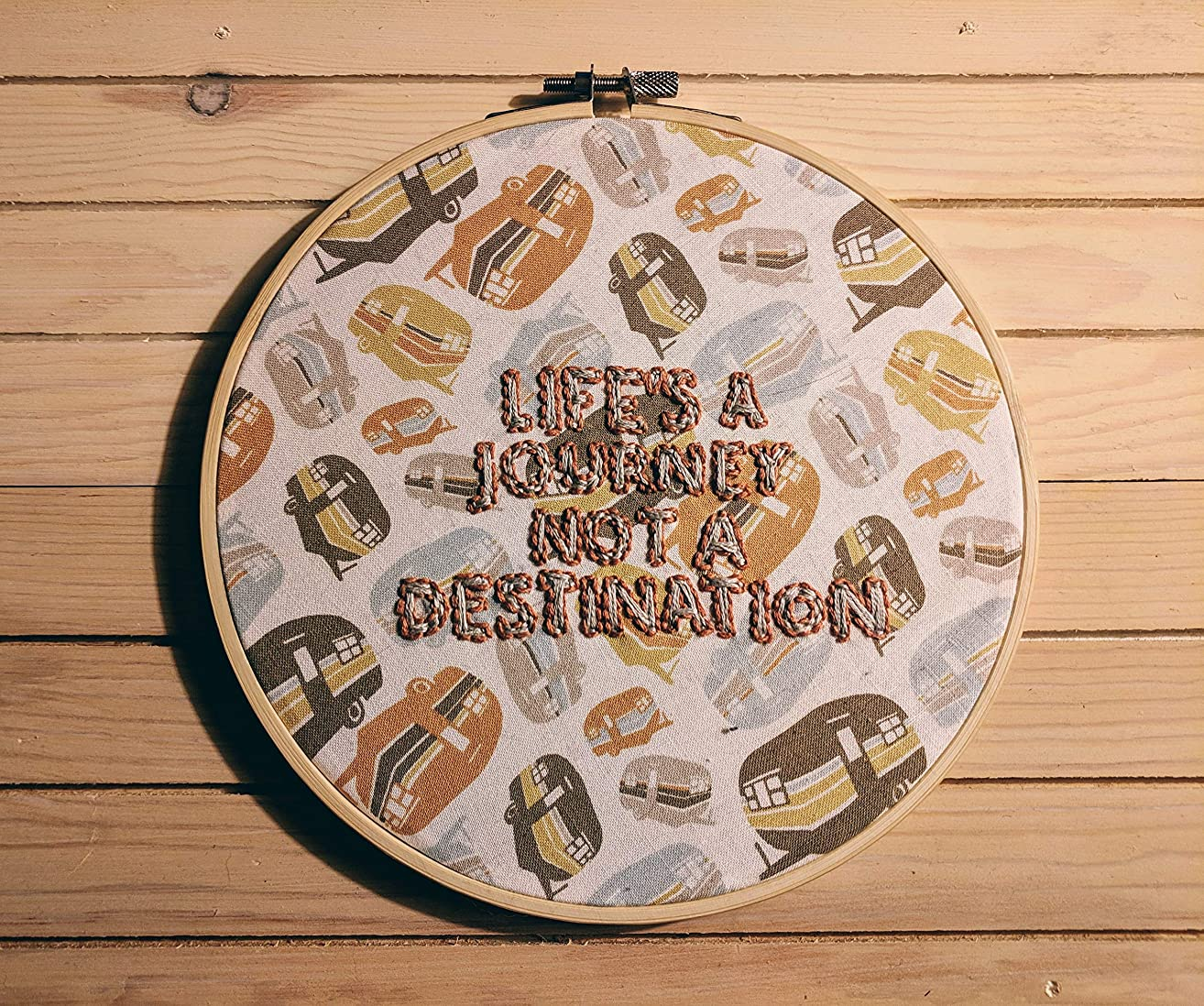 Vintage Camper Embroidery Hoop - Traveler Quote