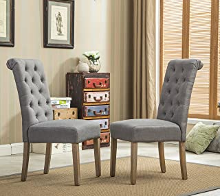 Roundhill Furniture Habit Grey Solid Wood Tufted Parsons...