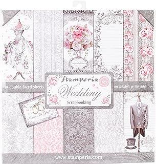 """Stamperia Bloc Papier Scrap Double Face 10 Feuilles 30,5x30,5 (12""""x12"""") - Wedding noir/blanc SBBL18"""