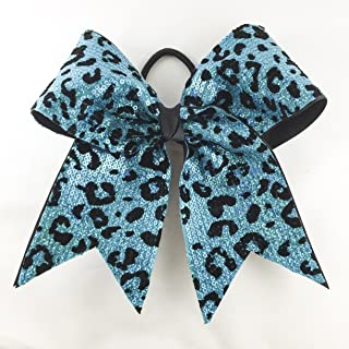 Arrow and Bowss Turquoise Cheetah Cheerleading Bow - Competition Grade Hair Bow 3 Inch Ribbon
