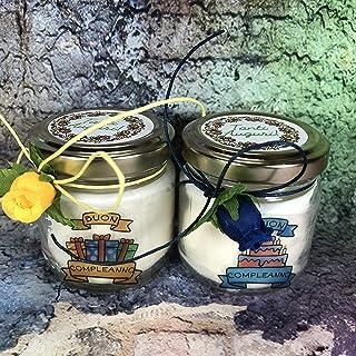 Auguri Buon Compleanno 2 vasetti con candele di cera di soia e oli essenziali