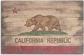 Lantern Press Rustic California State Flag (10x15 Wood Wall Sign, Wall Decor Ready to Hang)