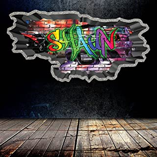 Personalized Full Multi Color Custom Graffiti Name Cracked Wall Art Stickers Decor For Kids Vinyl Decals Murals Graphics Prints WSDPGN70