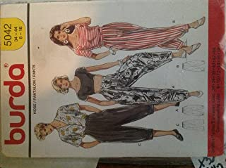 Burda 5042 Sewing Pattern for Misses 8 10 12 14 16 18 Button Waistband Pleated Harem Inspired Pants with Side Pockets & Hem Band Gathers or Elastic in Back Hems, or Roll Hem.