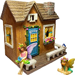Mood Lab Fairy Garden - Miniature Believe House Kit - Figurines and Accessories Set