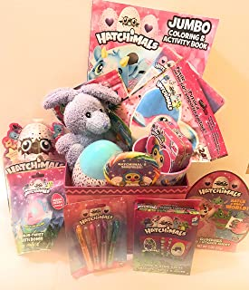 Hatchimals Easter Holiday Gift Basket Or Birthday Basket - CandyPuzzlePlay Pack Coloring Book Cup Pens Stickers Playing Cards Purple Plush - 15 Pieces