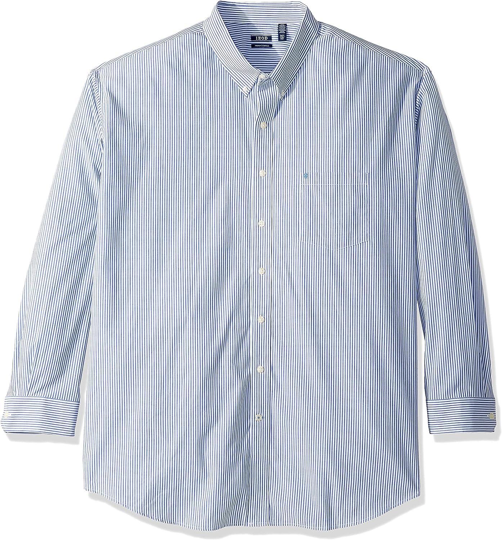 IZOD Men's Big and Tall Button Down Long Sleeve Stretch Performance Stripe Shirt