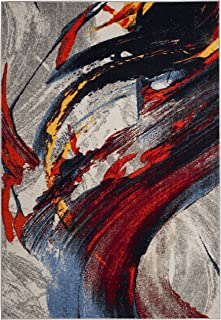 Safavieh Porcello Collection PRL8261C Light Grey and Red Modern Abstract Area Rug (5'1