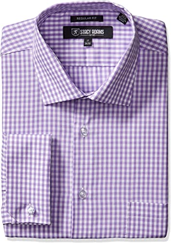 STACY ADAMS Hommes's Gingham Check Robe Shirt, violet, 15.5  Neck 32-33  Sleeve