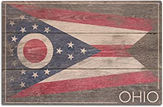 Lantern Press Rustic Ohio State Flag (10x15 Wood Wall Sign, Wall Decor Ready to Hang)