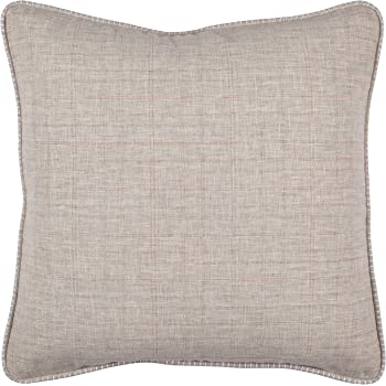 "Amazon Brand – Stone & Beam Whipstitch Edge Decorative Throw Pillow, 18"" x 18"", Light Grey with White Whipstitch"