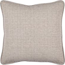 Stone & Beam Whipstitch Edge Decorative Throw Pillow, 18 x 18, Light Grey with White Whipstitch