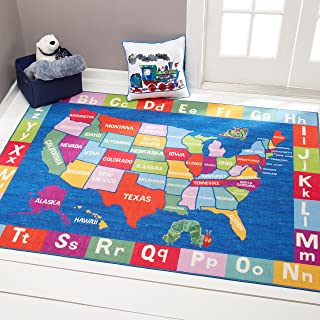 Home Dynamix Eric Carle Elementary USA Map Area Rug...