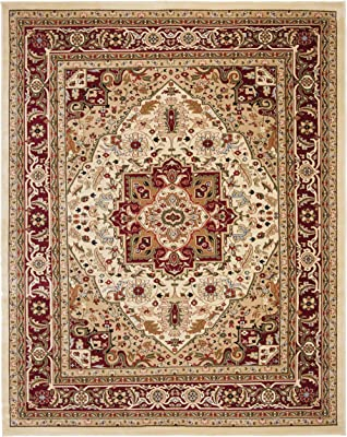 Safavieh Lyndhurst Collection LNH330A Traditional Oriental Medallion Ivory and Red Area Rug (10' x 14')