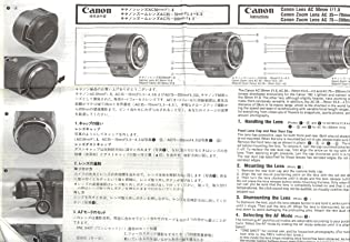 Canon AC 50mm f/1.8; AC 35-70mm f/3.5-4.5; AC 75-200mm f/4.5 Lens Original Instruction Pamphlet - Multi-Language