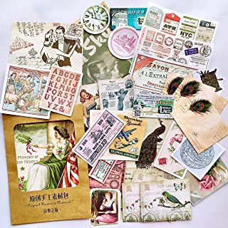 36PCS Packed Retro Washi Paper Decals Stickers, Doraking DIY Kraft Packed Vintage Decorative Stickers for Scrapbook, Gift ...