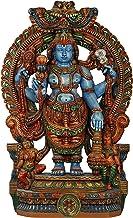 Blue-Skinned Lord Vishnu - Wood Statue