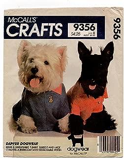 Mccalls 9356 Dapper Dog Wear Sewing Pattern Raincoat and Hood, Sweatshirt, T-shirt, Tuxedo or Lace Collar Xs, S, M