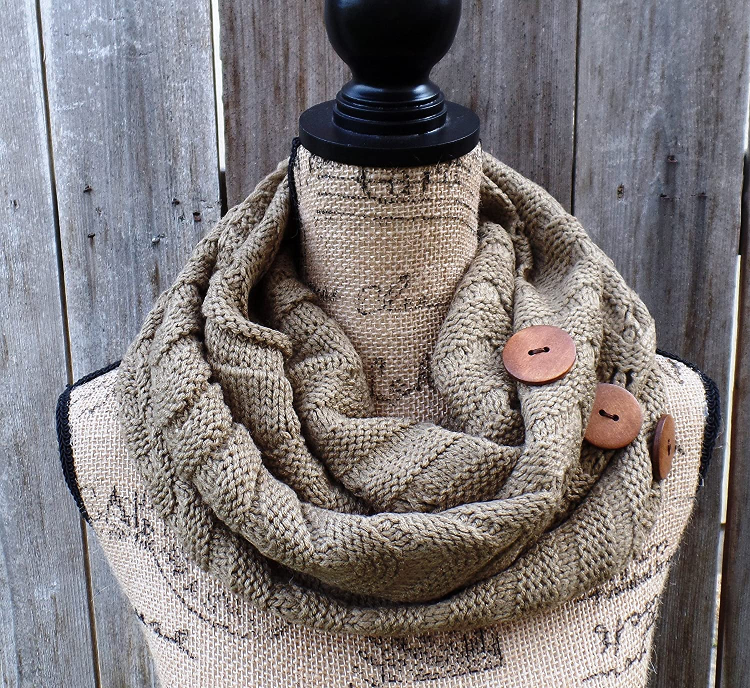 Mocha Infinity Knit Scarf With Wooden Buttons By Girl Co quality Max 87% OFF assurance Uptown