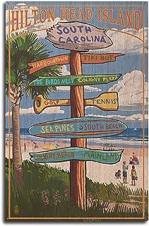 Lantern Press Hilton Head Island, South Carolina - Destinatios Sign (10x15 Wood Wall Sign, Wall Decor Ready to Hang)