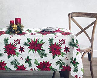 Twig & Twine Fabric Cotton Christmas Holiday Tablecloth Poinsettias Pine Boughs Berries in Shades Red Green on White 60 Inches x 102 Inches