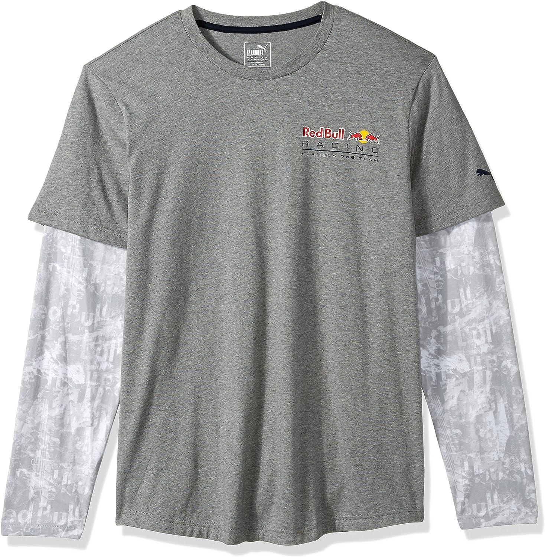 Puma Herren Red Bull Racing Long Sleeve Allover Tee Sport T Shirt Bekleidung