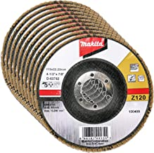 Makita 10-pack – 120 korn klaffskiva för slipmaskiner – fin konditionering för metall, rostfritt stål och icke-järn – 10-1...