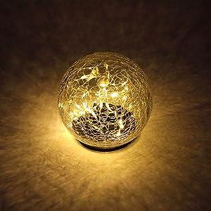JHBOX Solar Globe Lights Halloween Christmas Cracked Glass Ball 30 LEDs, Waterproof Outdoor Garden Decor, Fall Winter Decorations for Lawn, Yard, Patio, Doorsteps (1 Pack of 5.9