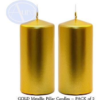 Lot de 12 Bougies Pilier Or Jaune 8 x 4 cm
