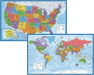 """Laminated World Map & US Map Poster Set - 18"""" x 29"""" - Wall Chart Maps of The World & United States - Made in The USA - Upd..."""