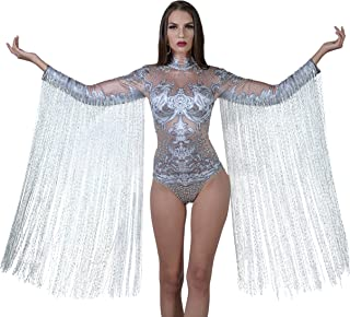 Charismatico White Crystallized Fringe Dance Drag Queen Leotard with ArmTassels US0-US6