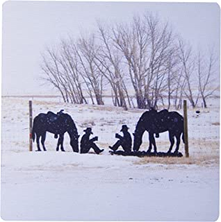 3dRose LLC 8 x 8 x 0.25 Inches Horses and Cowboys Metal Sign Silhouette Mouse Pad (mp_11355_1)