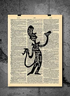 Dr. Seuss Quote Cat in the Hat Vintage Art - Wet Sunny Funny Authentic Upcycled Dictionary Art Print - Home or Office Decor - No Frame