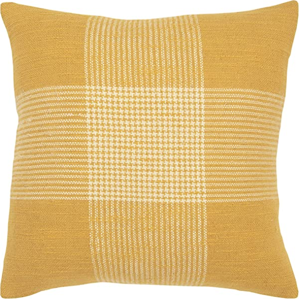 瑞姿家居装饰格子抱枕套黄色 20X20
