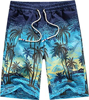 SSLR Men's Holiday Slim Quick Dry Hawaiian Beach Swim Trunks