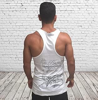 Men's White Tank Top Sleeveless Vest, Size L, Dragon Printed, Training Sports Everyday Wear for Men