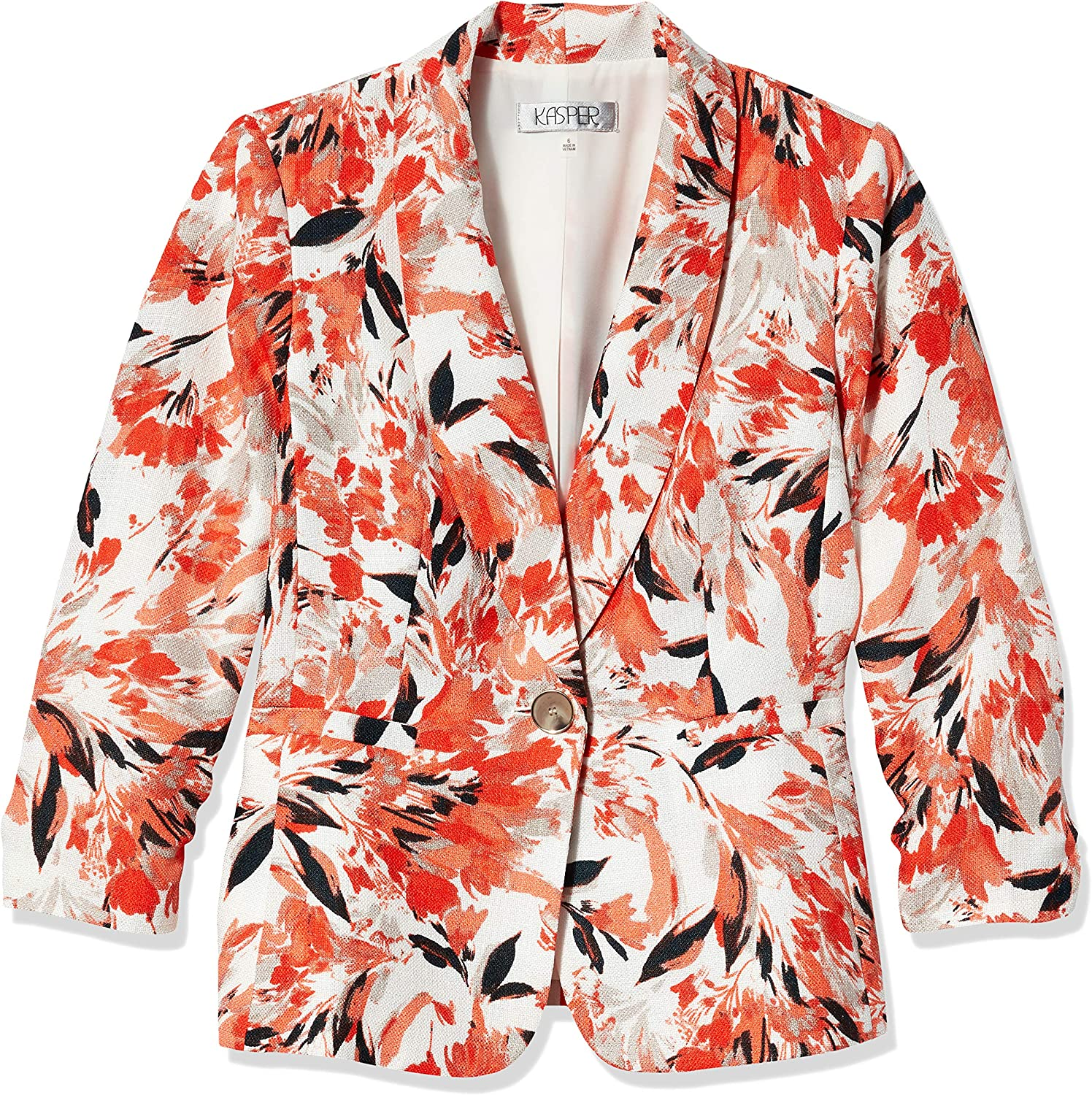 Kasper Women's Botanical Floral Printed Shawl Collar Jacket with Rouched Sleeves
