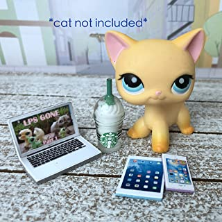 LPS Littlest Pet Shop 4 Accessories Lot Starbucks, Laptop, Phone, Tablet CAT NOT INCLUDED …