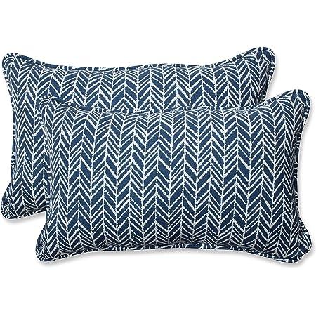 Pillow Perfect Outdoor Indoor New Damask Marine Lumbar Pillows 11 5 X 18 5 Blue 2 Count Home Kitchen
