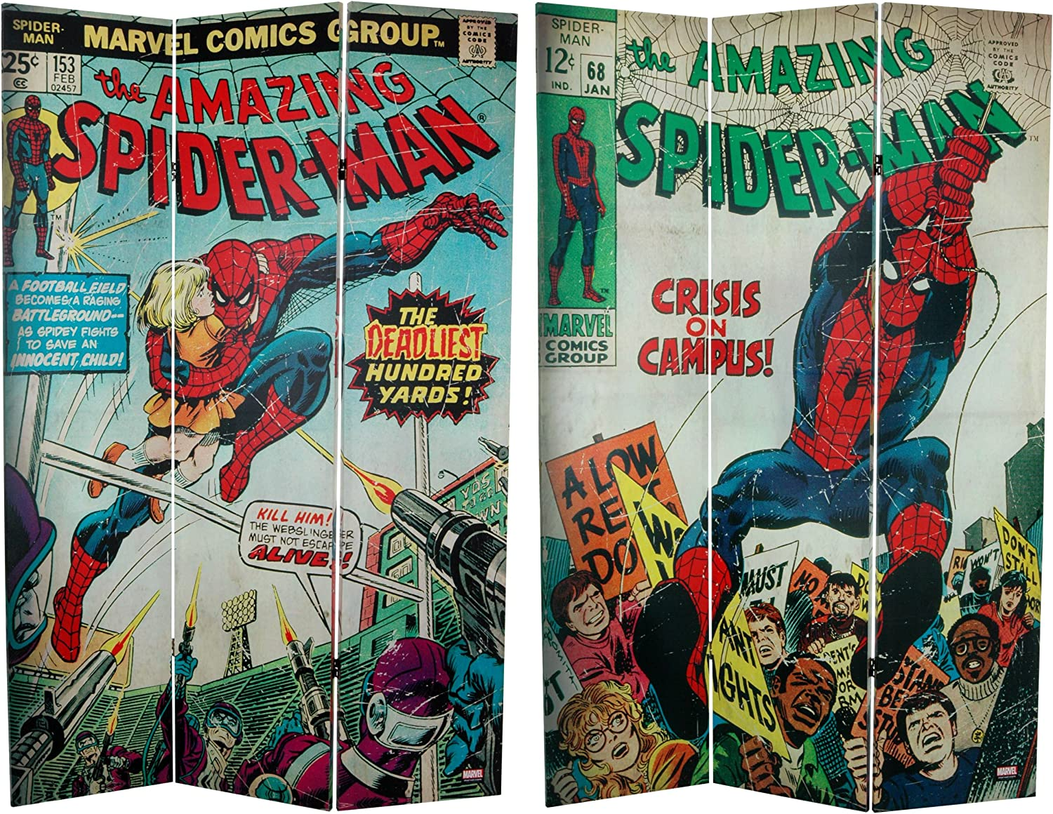 Oriental Furniture 6-Feet Tall Double Sided The Amazing Spider-Man Canvas Room Divider