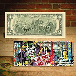 JOKER Gotham City DC Comics Collectible Art Two-Dollar U.S. Bill SIGNED by Rency