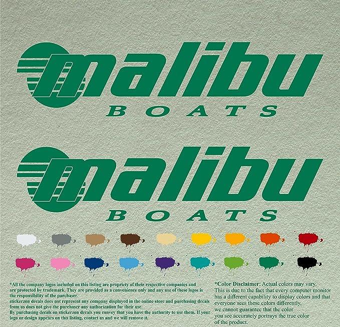 2 MALIBU BOATS DI-CUT STICKERS DECAL BLACK WAKEBOARD