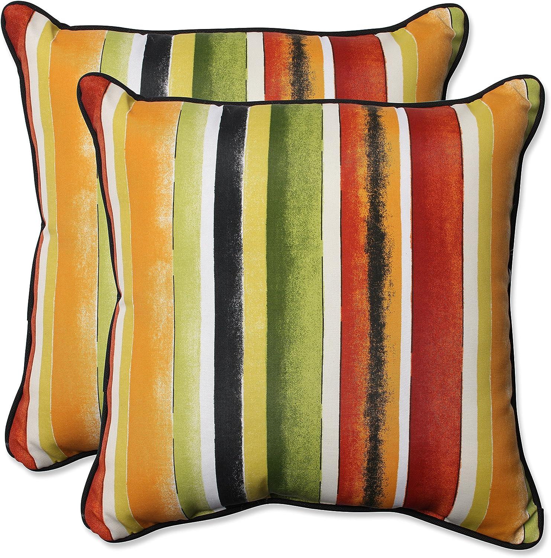 Pillow Perfect Outdoor Indoor Dina black Throw Pillow (Set of 2), 18.5