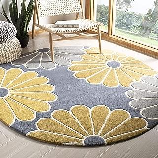 Safavieh Soho Collection SOH705A Handmade Grey and Yellow Premium Wool Round Area Rug (6' Diameter)