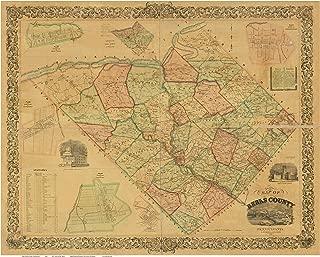Berks County Pennsylvania 1854 - Wall Map with Homeowner Names - Old Map Reprint