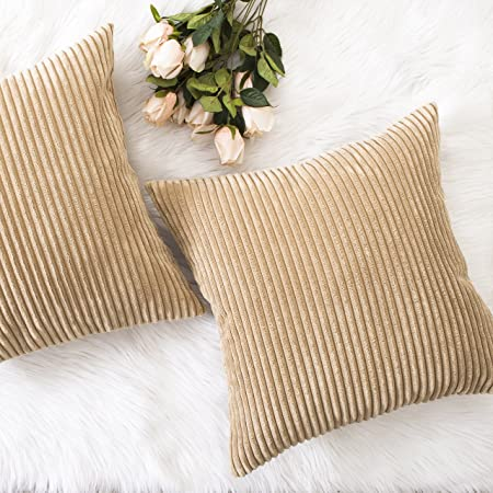 18 x 18 inches Yeadous Cream Throw Pillow Covers with Wavy and Silver Stripes Decorative Simple Practical Square Velvet Pillow Cushion for Couch Sofa Bed Car Set of 2
