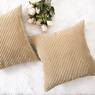 Home Brilliant Decor Throw Pillow Cover Decorative Soft Velvet Corduroy Striped Square Cushion Cover for Bench, Set of 2, 18 x 18 inch (45cm), Taupe