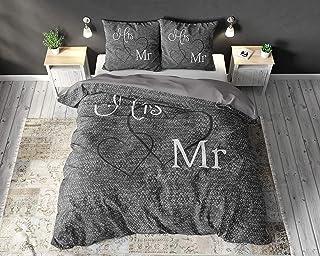 SLEEP TIME Housse de Couette Sleeptime Coton Monsieur et Madame, 220cm x 240cm, avec 2 Housse d'oreiller 60cm x 70cm, Gris
